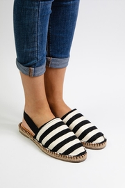 Morkas Shoes Black And White Stiped Mules - Front full body