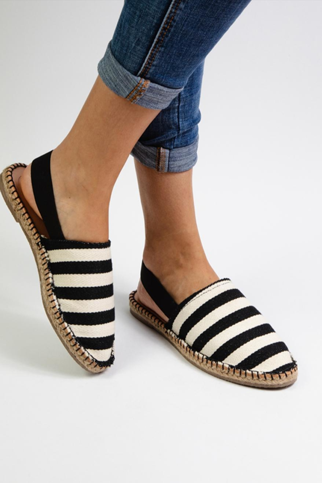 Morkas Shoes Black And White Stiped Mules - Side Cropped Image