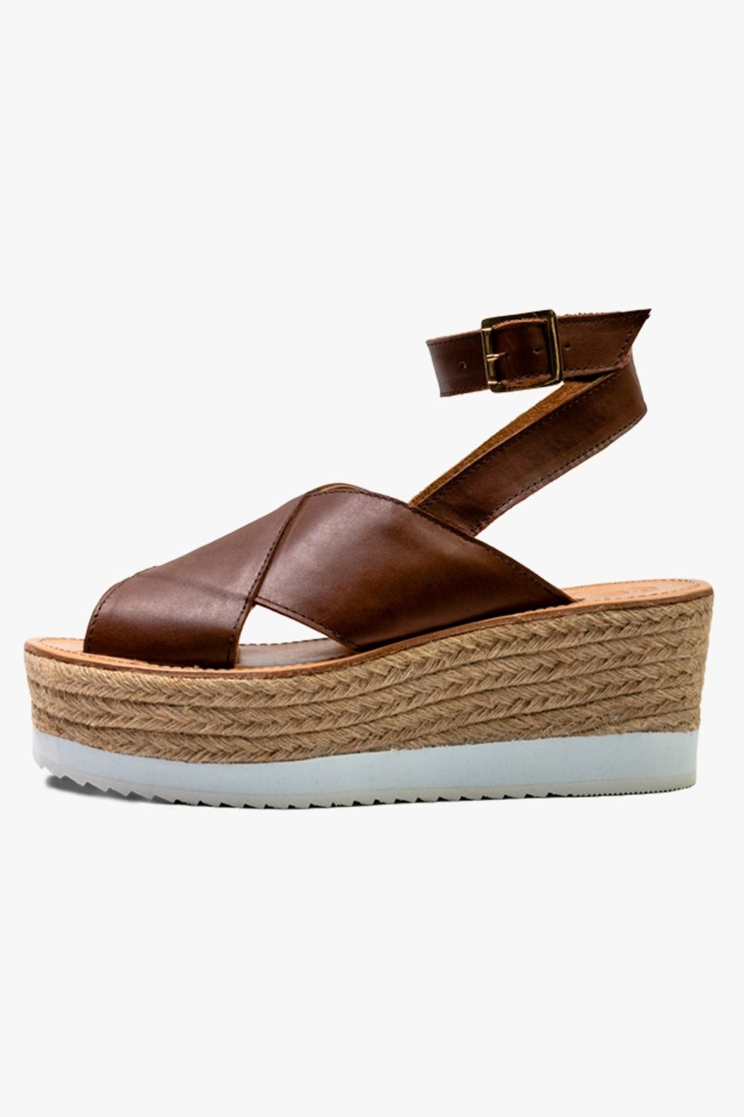 Morkas Shoes Brown Leather Espadrille - Main Image