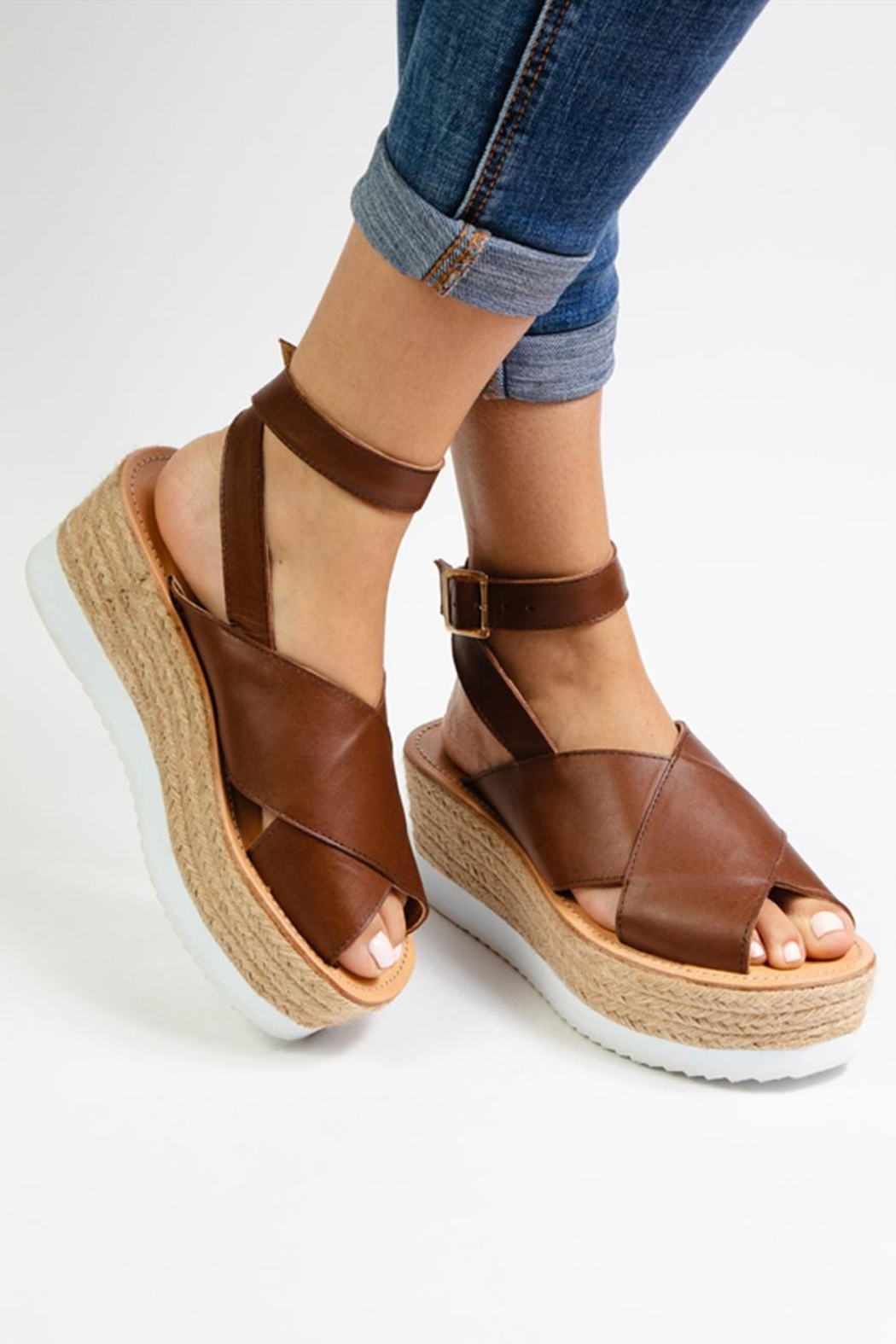 Morkas Shoes Brown Leather Espadrille - Side Cropped Image