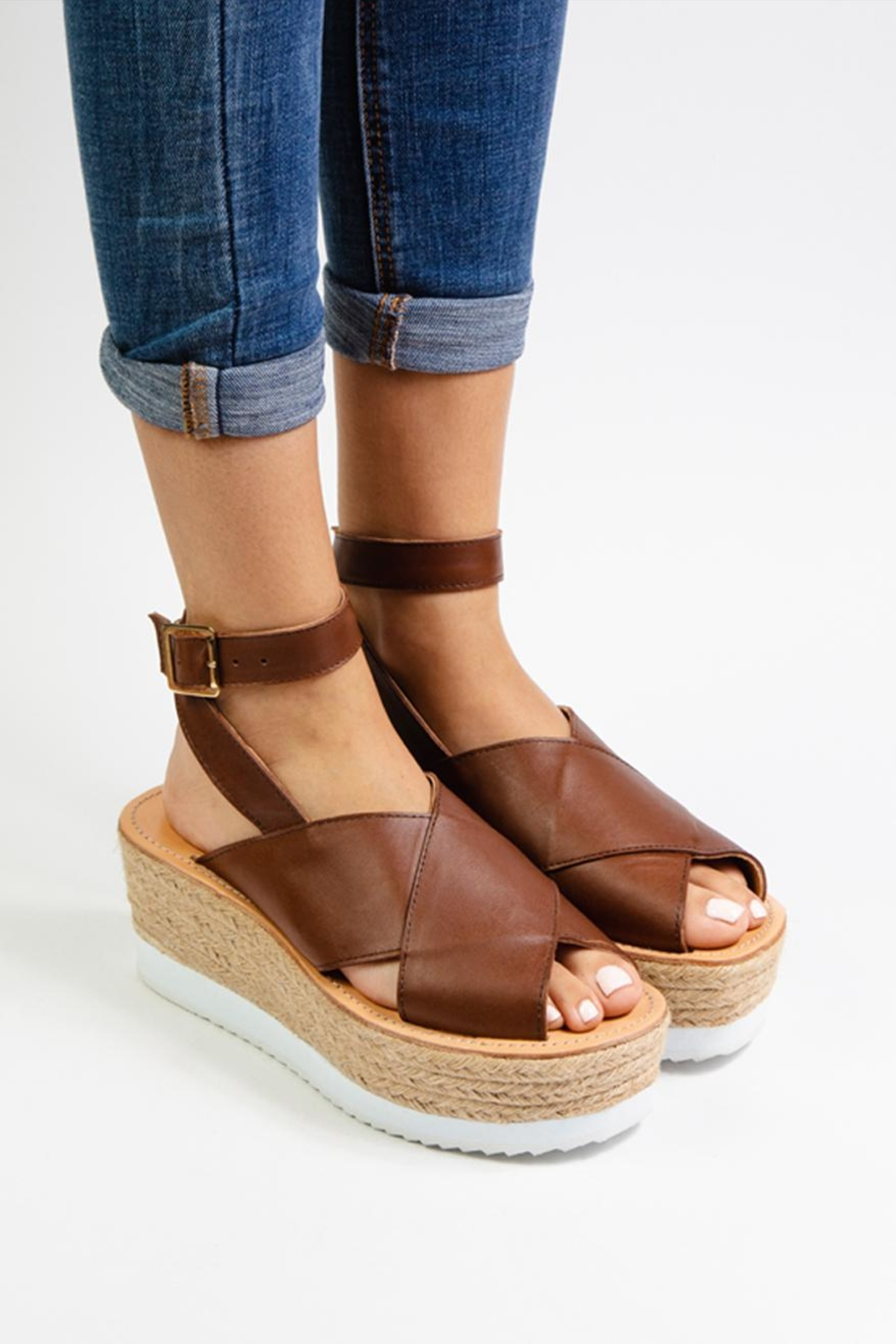 Morkas Shoes Brown Leather Espadrille - Front Full Image