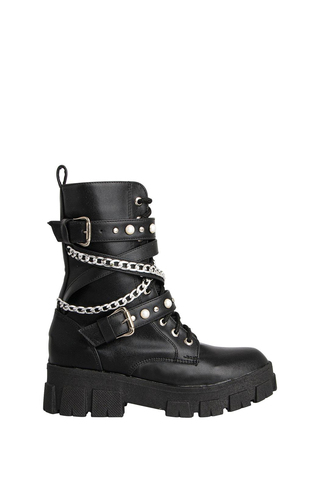 Morkas Shoes Combat Boot Black - Front Full Image