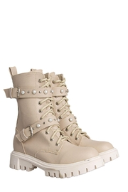 Morkas Shoes Combat Boot Nude - Front cropped