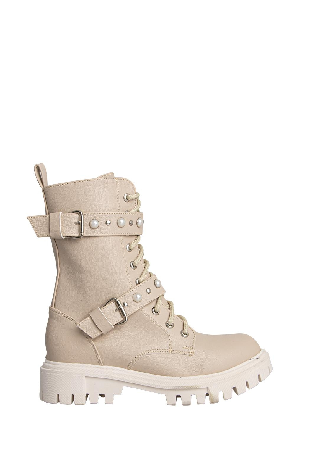 Morkas Shoes Combat Boot Nude - Front Full Image