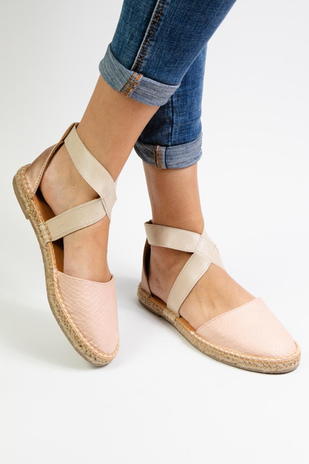 Morkas Shoes Cross Pink Espadrille - Side Cropped Image