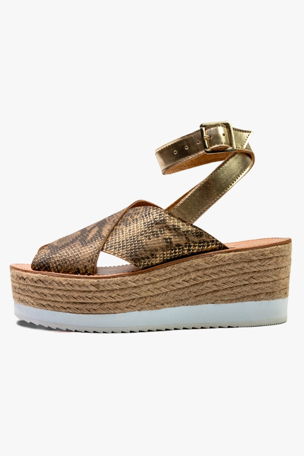Morkas Shoes Gold Synthetic Espadrille - Main Image