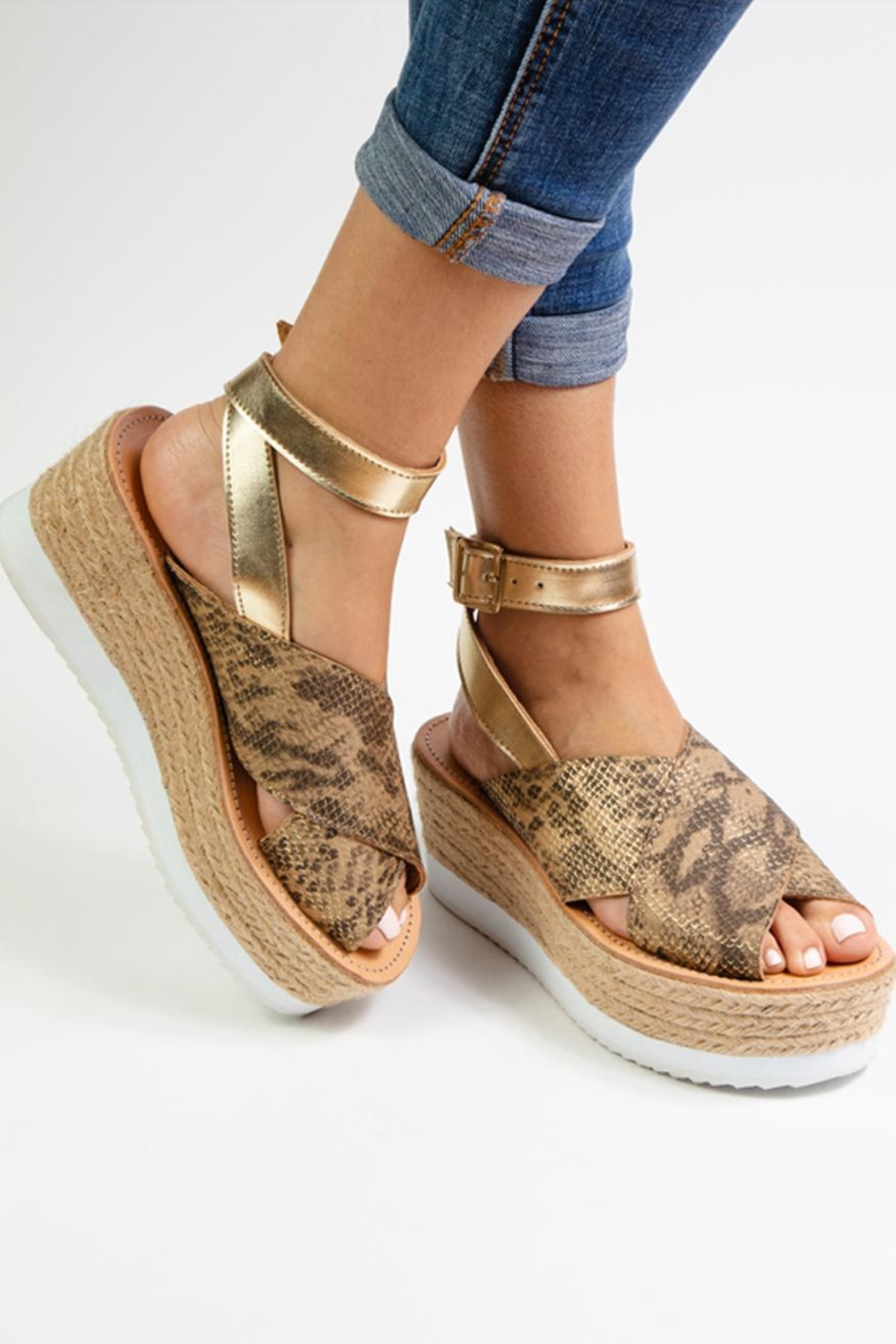 Morkas Shoes Gold Synthetic Espadrille - Front Full Image