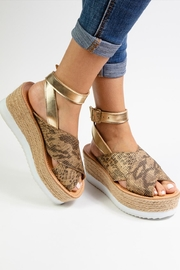 Morkas Shoes Gold Synthetic Espadrille - Front full body