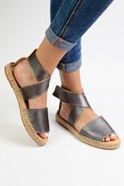 Morkas Shoes Grey Leather Ankle Strap Espadrilles - Side cropped