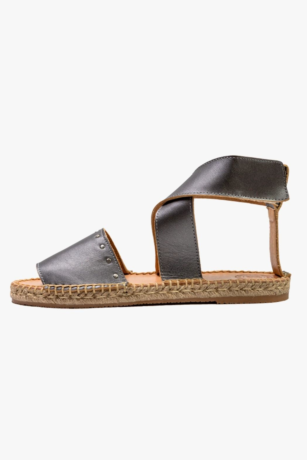 Morkas Shoes Grey Leather Ankle Strap Espadrilles - Main Image