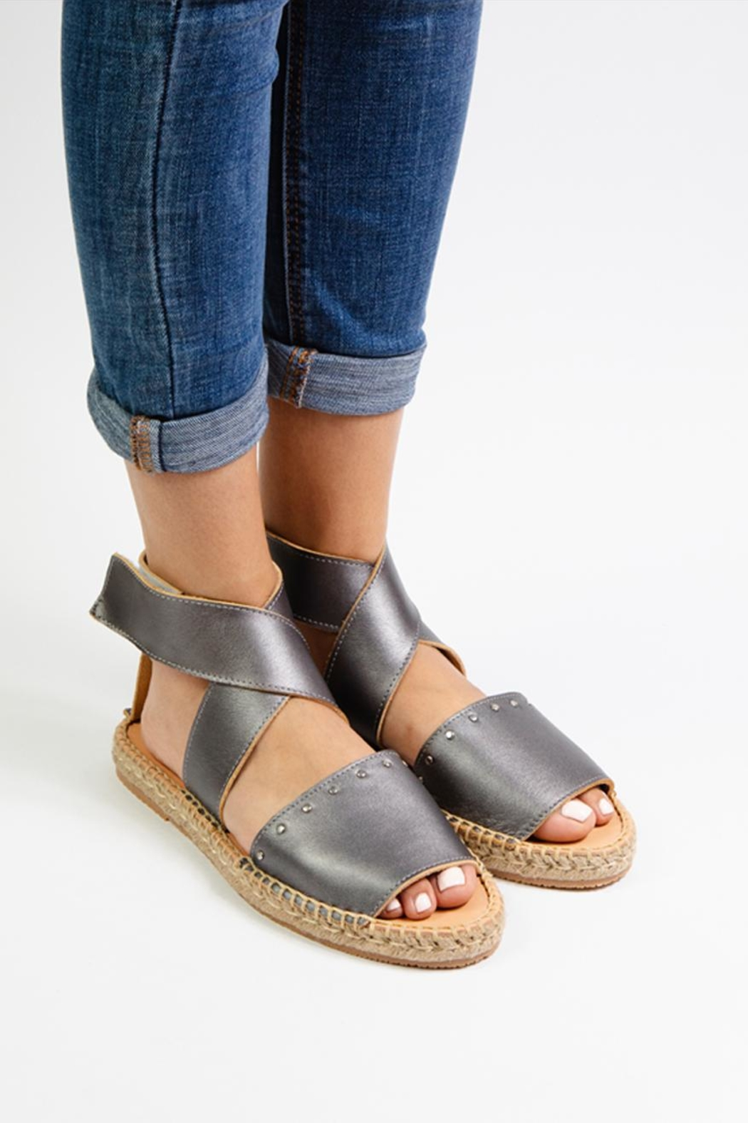 Morkas Shoes Grey Leather Ankle Strap Espadrilles - Front Full Image
