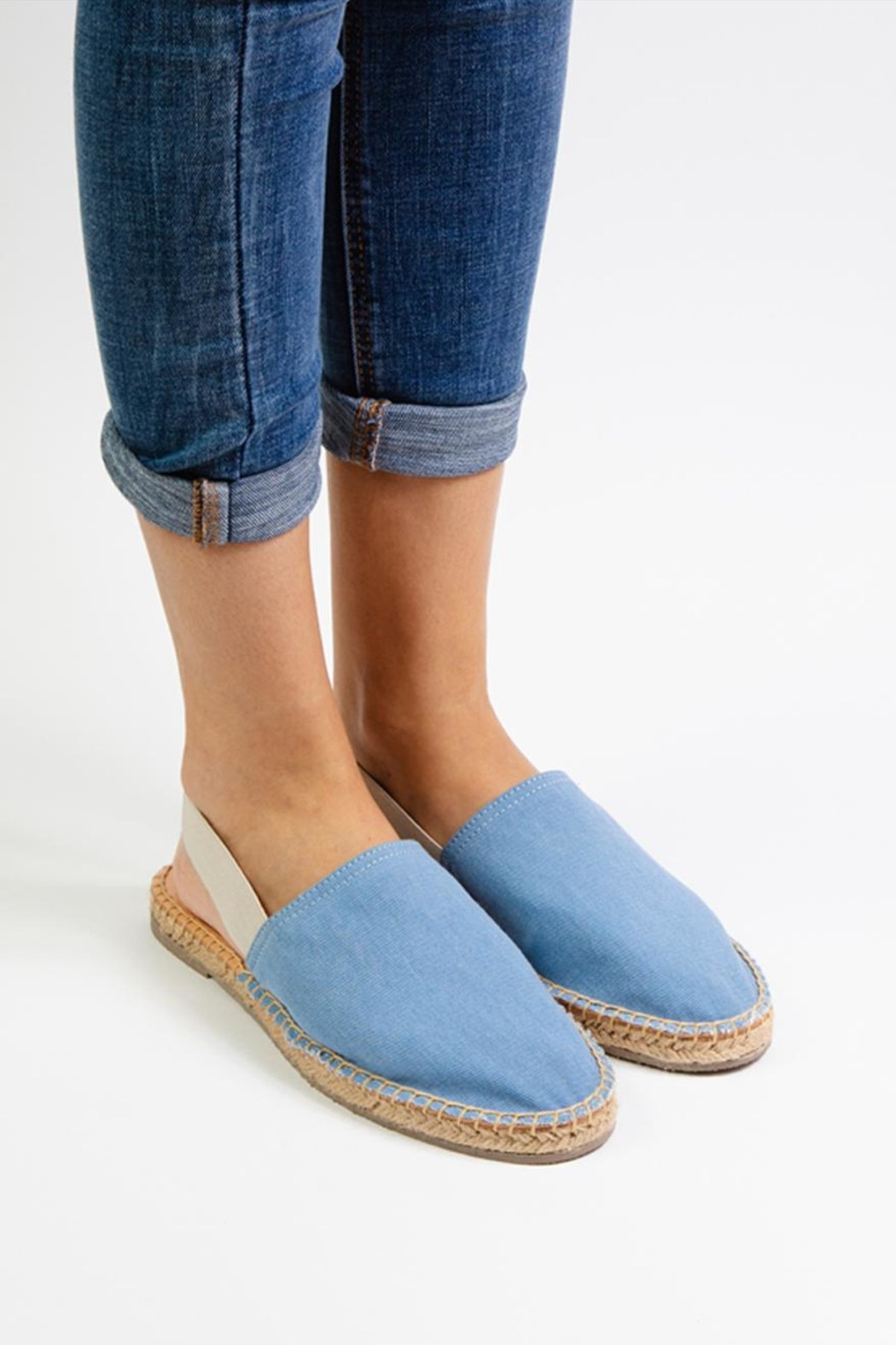 Morkas Shoes Light Blue Textile Mules - Front Full Image