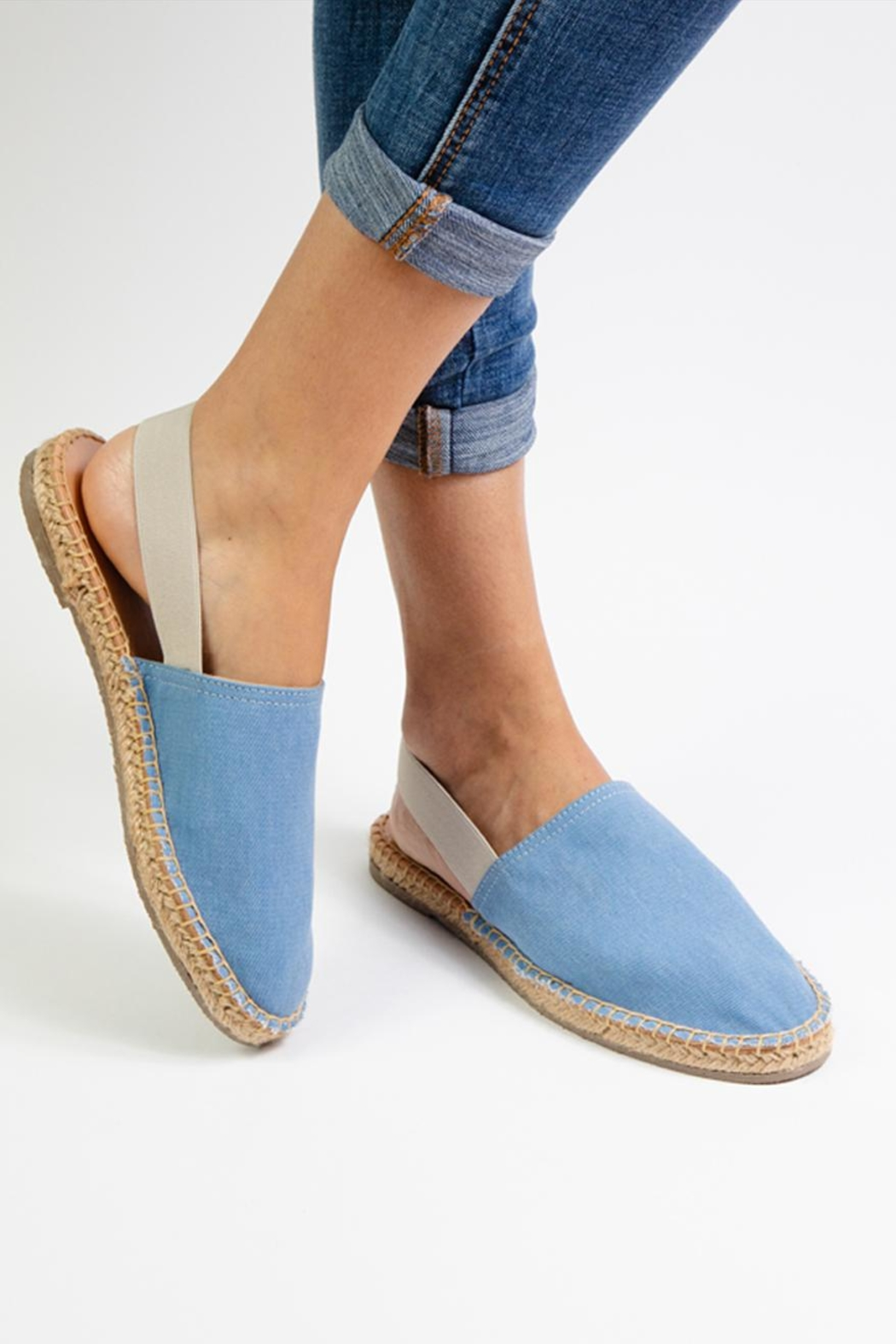 Morkas Shoes Light Blue Textile Mules - Side Cropped Image