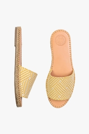 Morkas Shoes Mustard Canvas Slides - Front full body