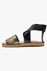 Morkas Shoes Pale Gold Synthetic Ankle Strap Espadrilles - Front cropped