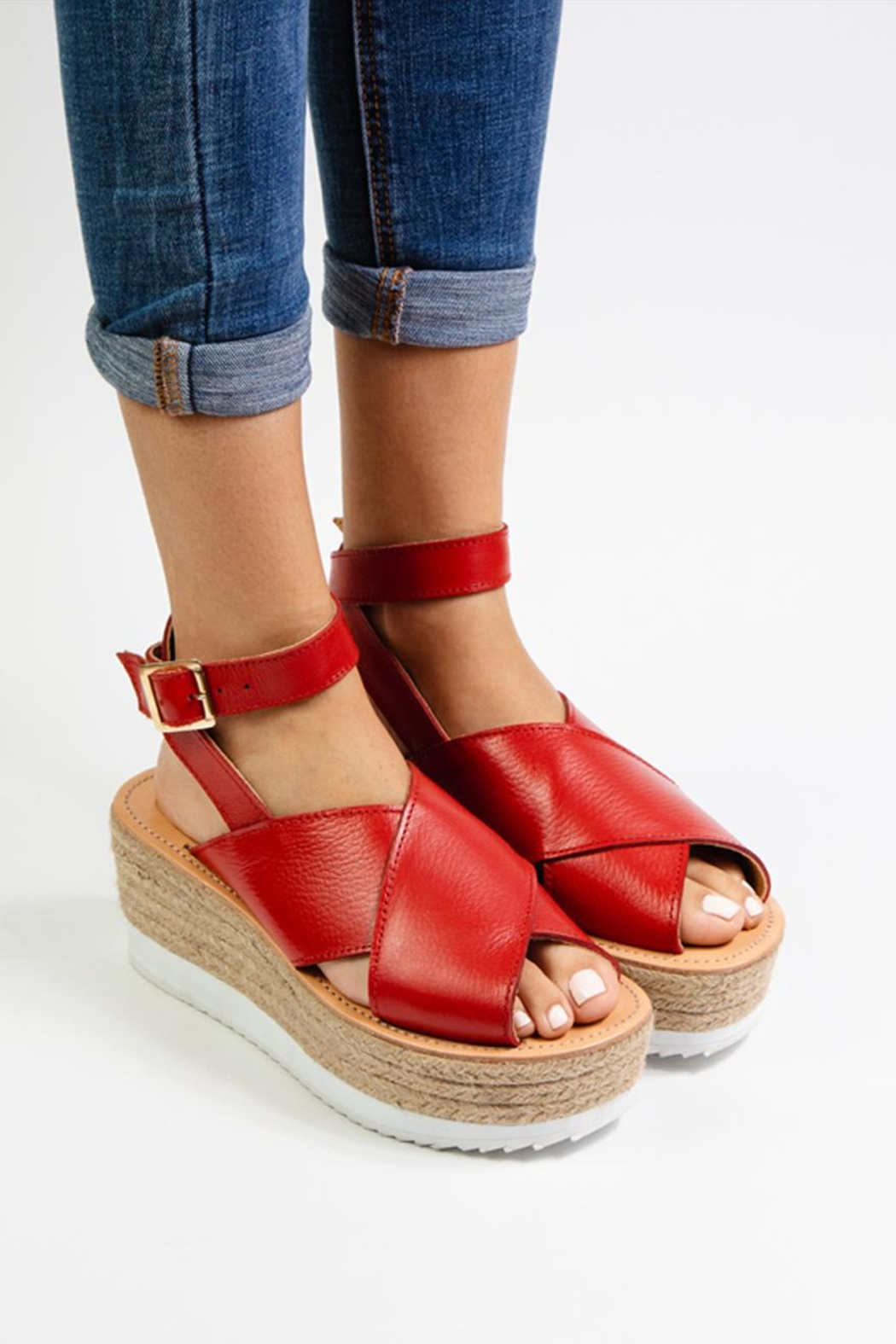 Morkas Shoes Red Leather Espadrille - Front Full Image