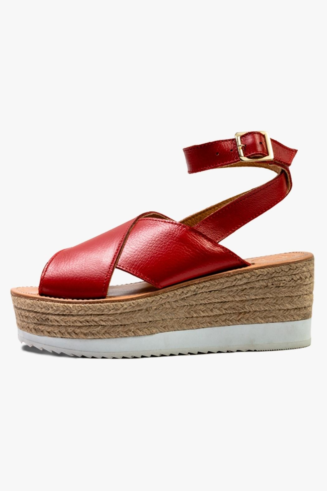 Morkas Shoes Red Leather Espadrille - Main Image