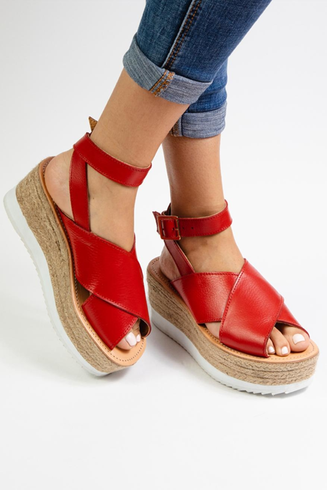 Morkas Shoes Red Leather Espadrille - Back Cropped Image