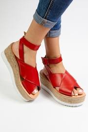 Morkas Shoes Red Leather Espadrille - Back cropped