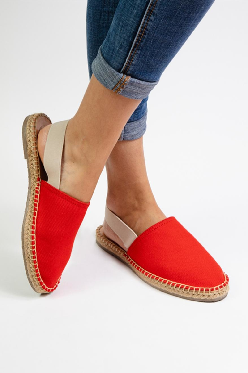 Morkas Shoes Red Textile Mules - Side Cropped Image