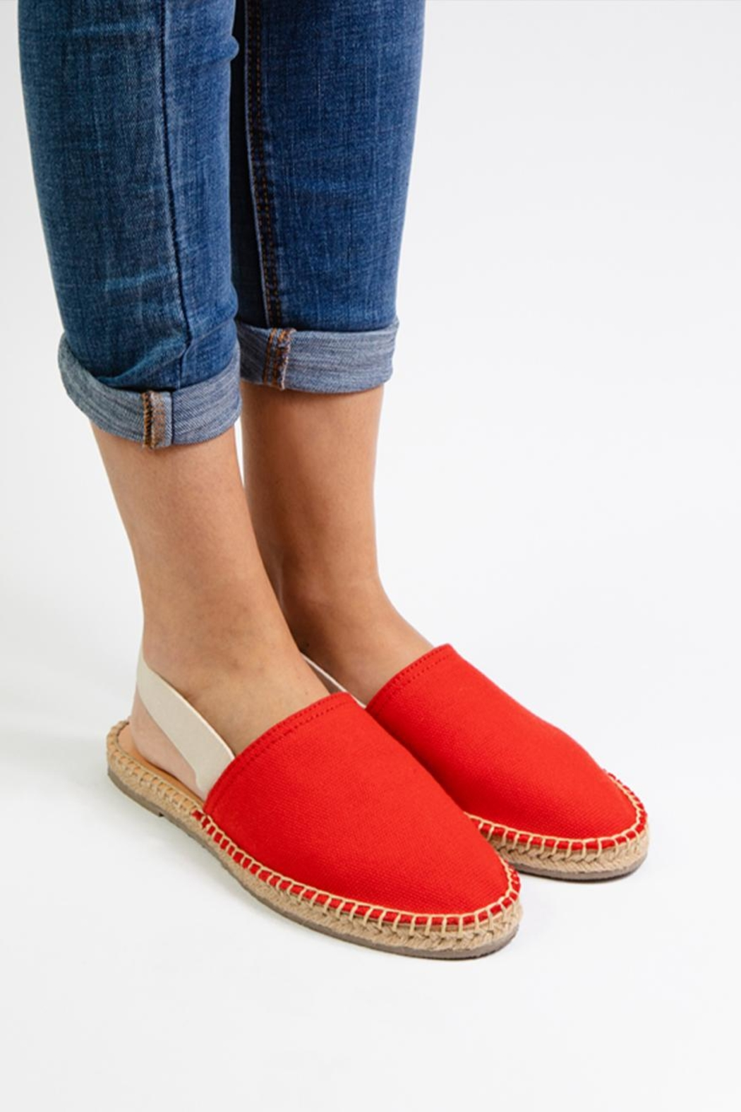 Morkas Shoes Red Textile Mules - Front Full Image