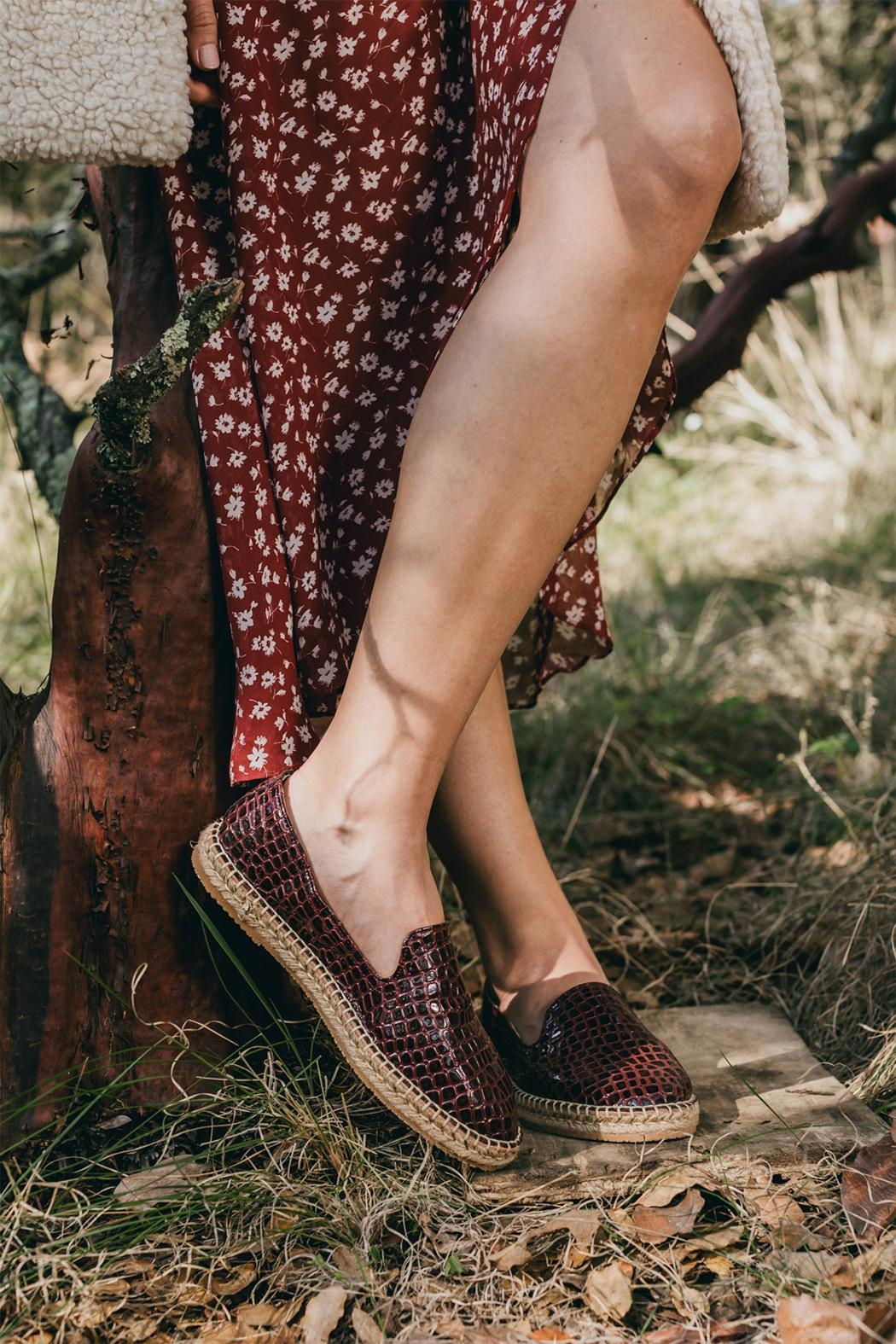 Morkas Shoes Slipper Wine Croco - Back Cropped Image