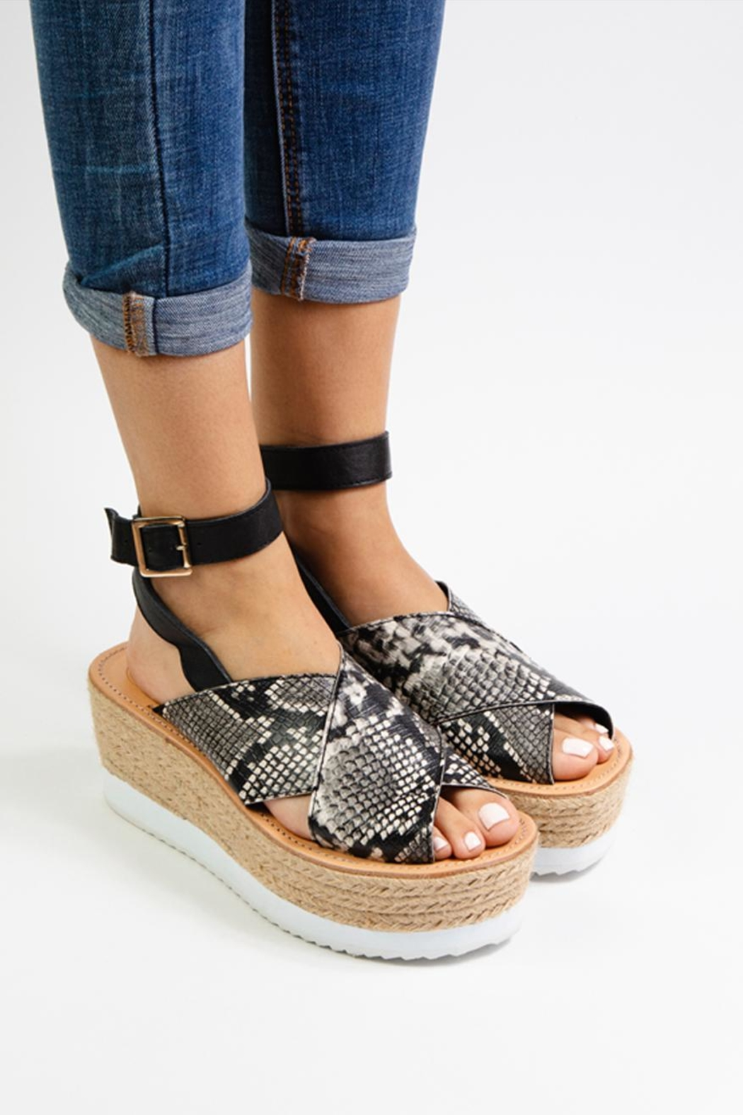 Morkas Shoes Synthetic Snake Espadrille - Front Full Image