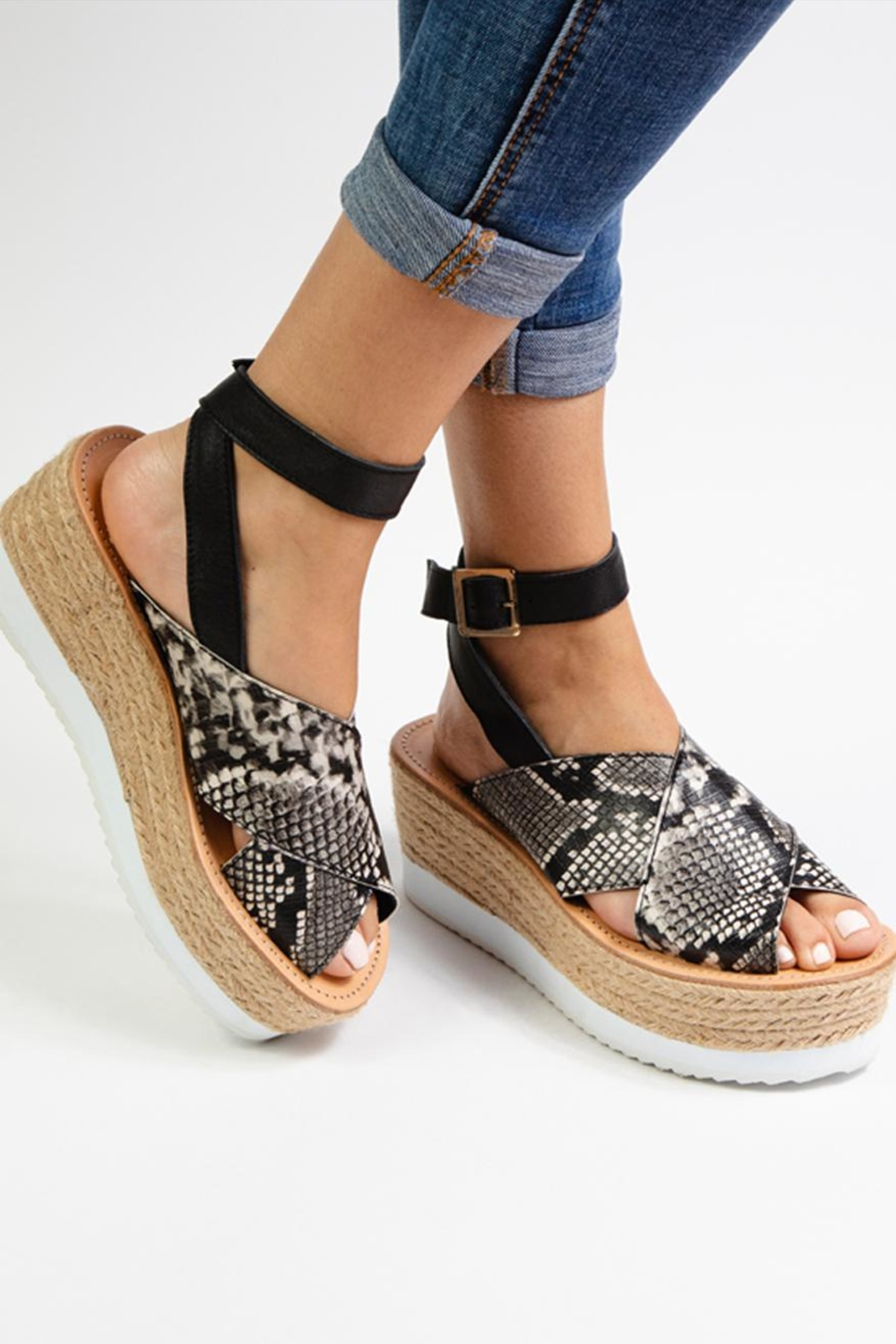 Morkas Shoes Synthetic Snake Espadrille - Side Cropped Image