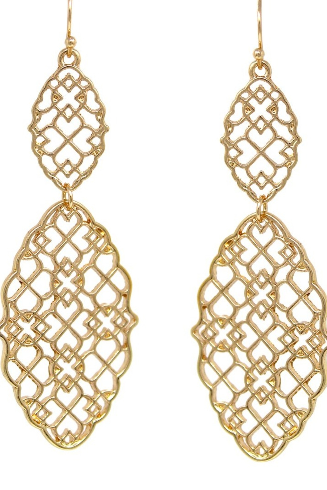 US Jewelry House Moroccan Cutout Double Drop Earrings - Main Image