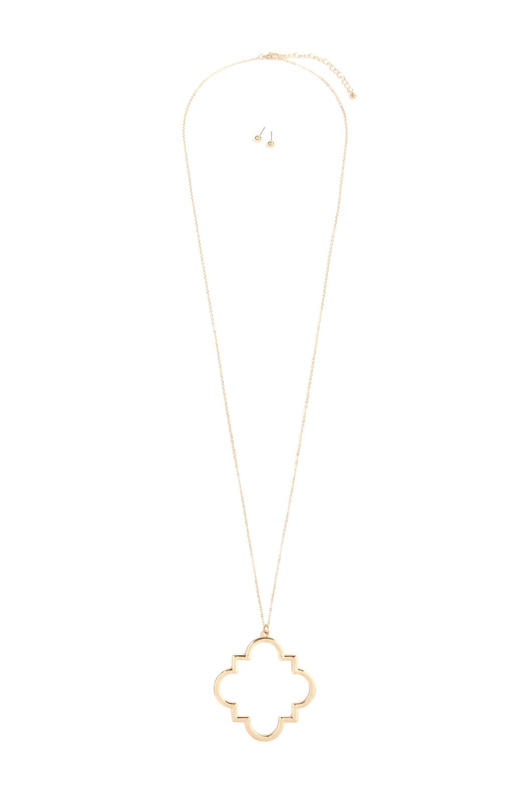 Riah Fashion Moroccan Pendant Necklace - Front Cropped Image