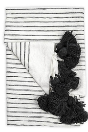Pokoloko Moroccan Pom Pom Throw Blanket in Sketched Charcol - Product Mini Image