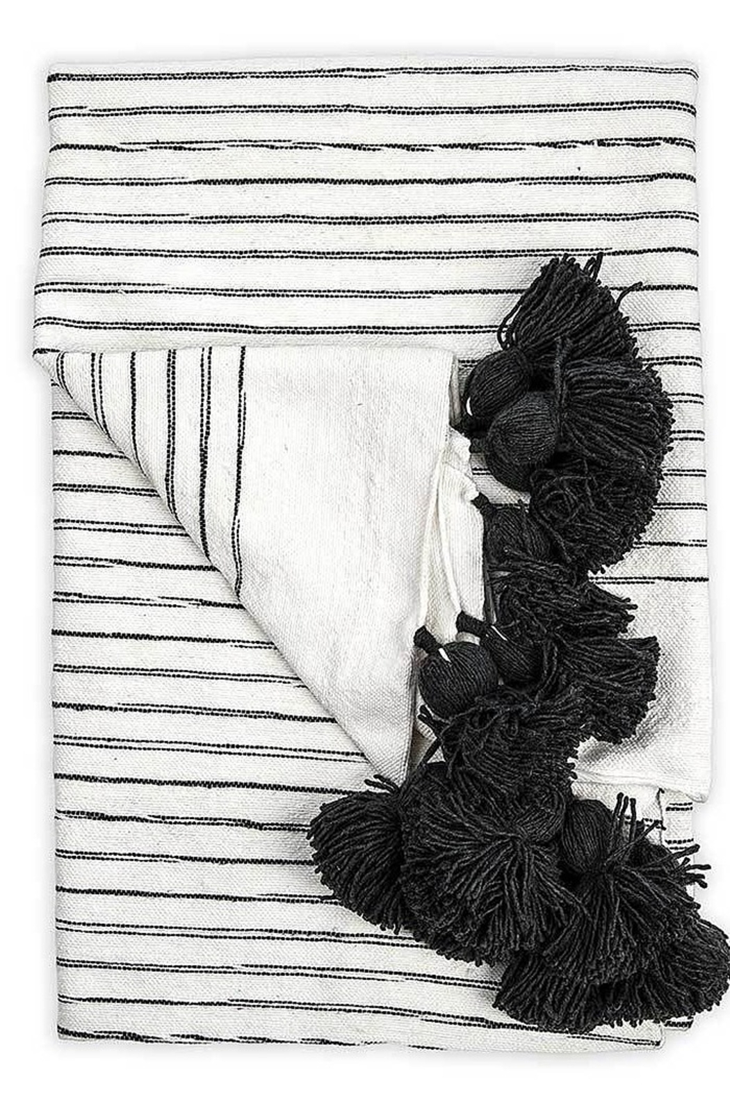 Pokoloko Moroccan Pom Pom Throw Blanket in Sketched Charcol - Main Image