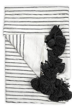 Shoptiques Product: Moroccan Pom Pom Throw Blanket in Sketched Charcol