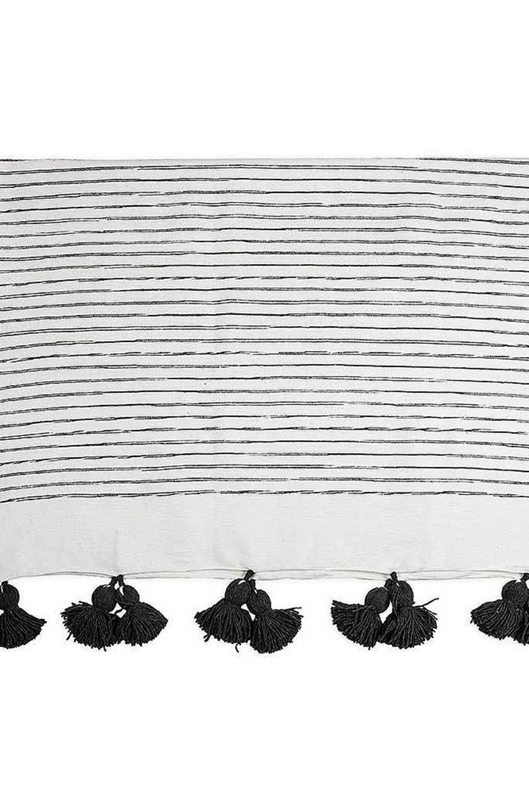 Pokoloko Moroccan Pom Pom Throw Blanket in Sketched Charcol - Side Cropped Image