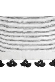Pokoloko Moroccan Pom Pom Throw Blanket in Sketched Charcol - Side cropped