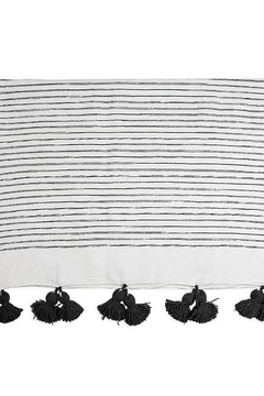 Pokoloko Moroccan Pom Pom Throw Blanket in Sketched Charcol - Alternate List Image
