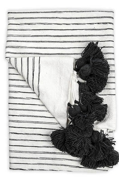 Pokoloko Moroccan Pom Pom Throw Blanket in Sketched Charcol - Product List Image