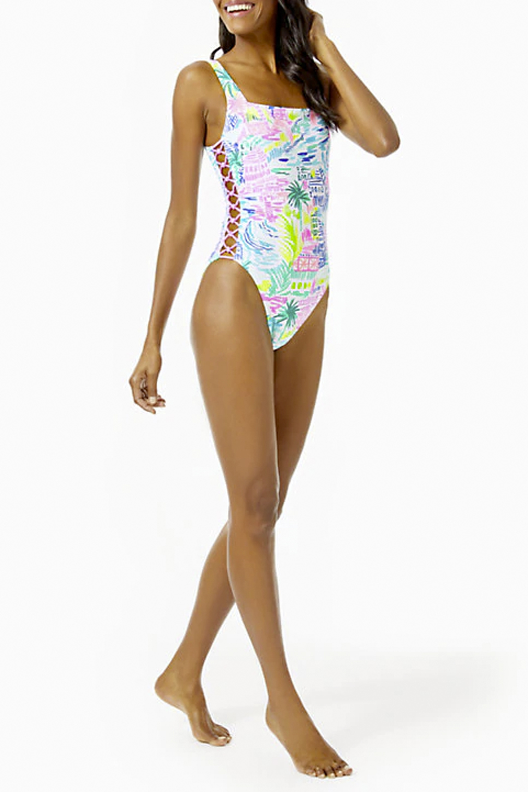 Lilly Pulitzer  Morri Squareneck Swimsuit - Side Cropped Image