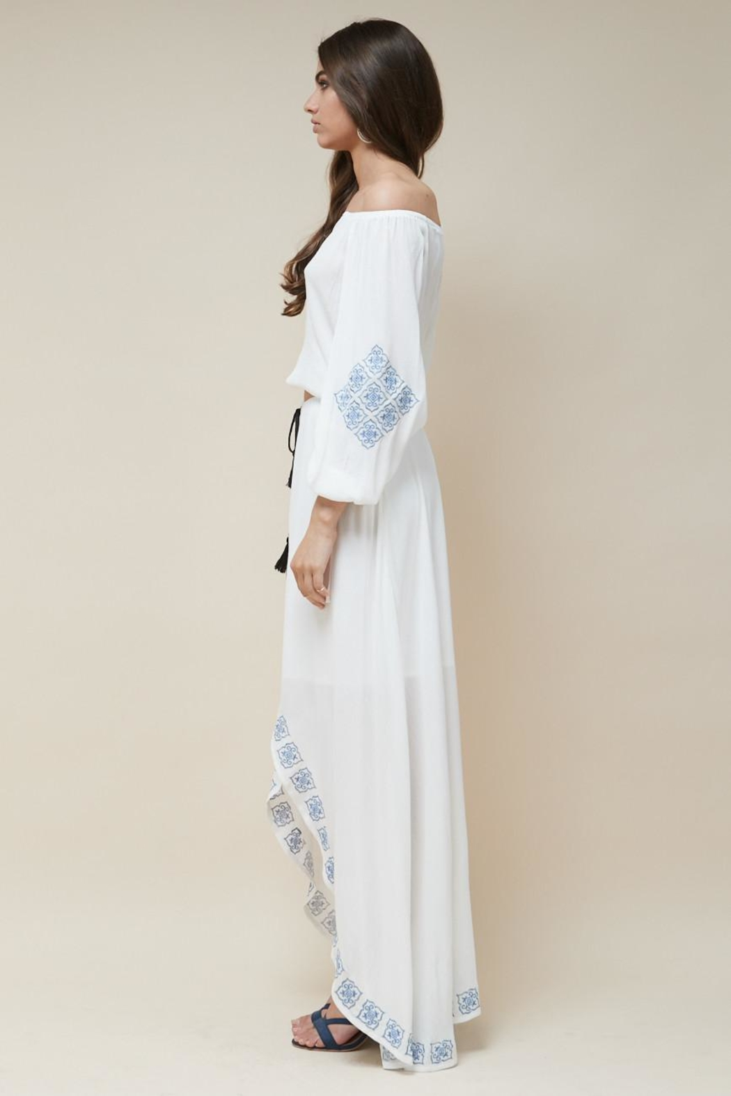 Morrisday The Label Mykonos Embroidered Skirt - Front Cropped Image