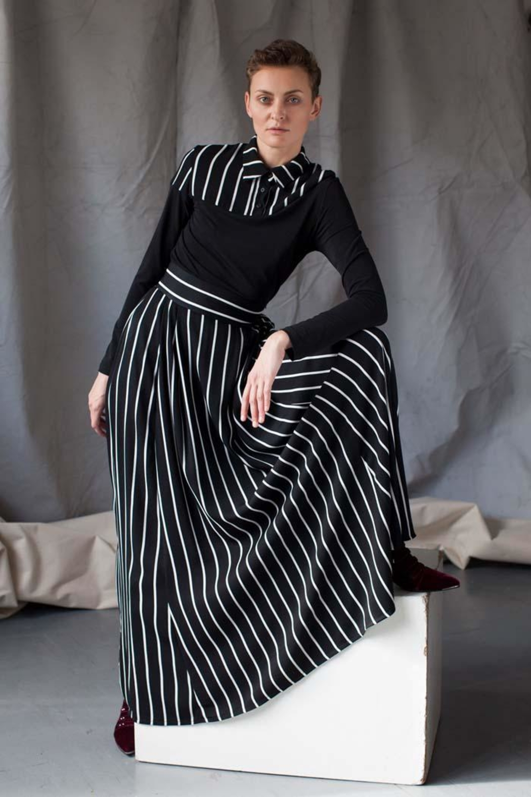 MORS Maxi Striped Skirt - Front Cropped Image