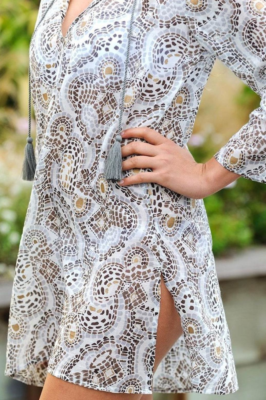 Rock Flower Paper Mosaic Beach Tunic - Front Full Image