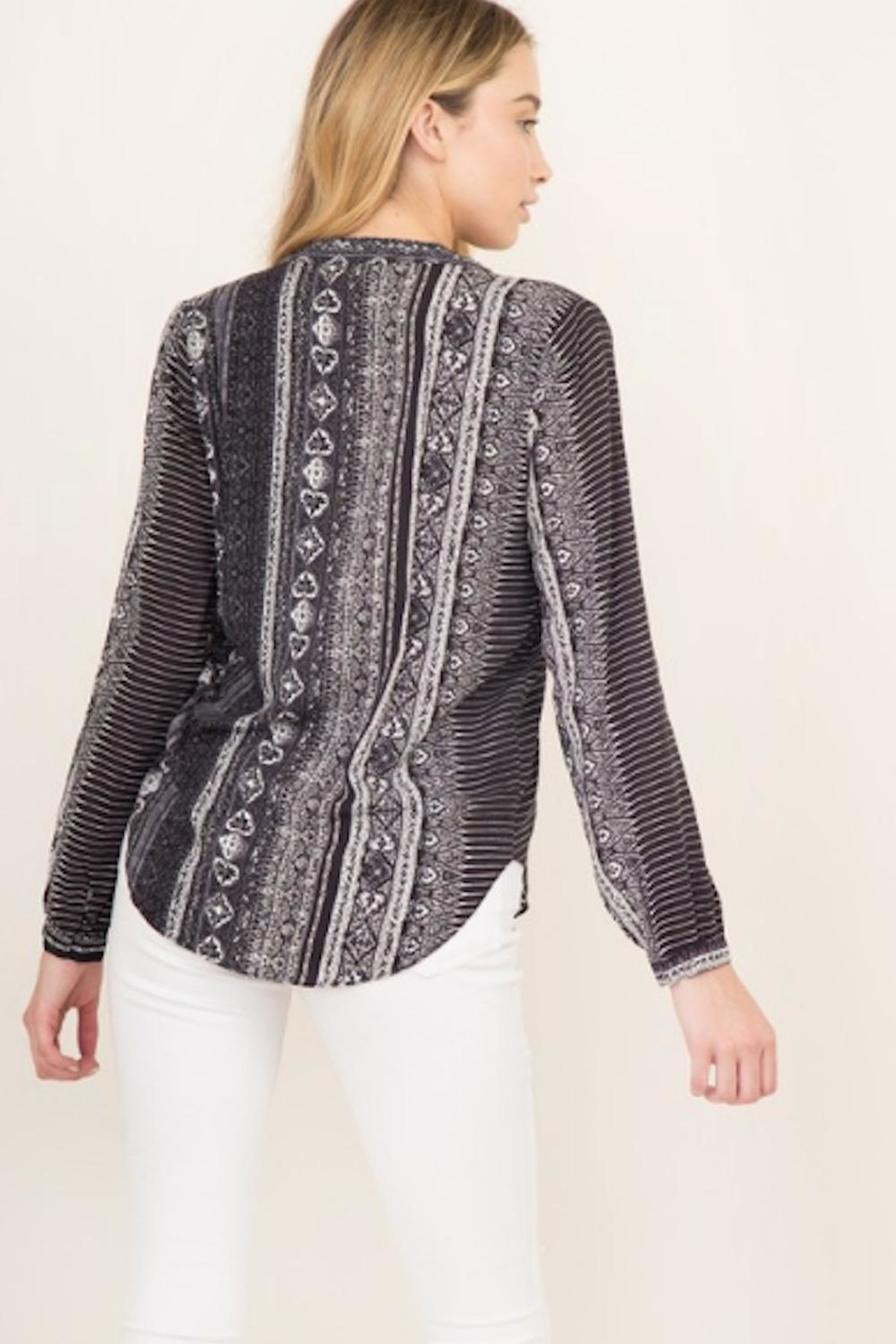 Olivaceous Mosaic Print Top - Front Full Image
