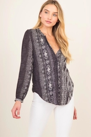 Olivaceous Mosaic Print Top - Front cropped