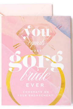 kitty meow boutique  Most GORG Bride Ever - Congratulations Engagement Ring Card - Alternate List Image
