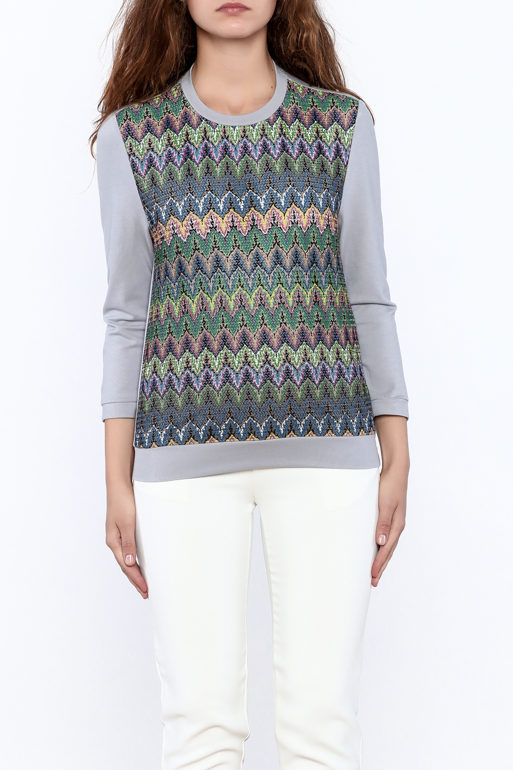 motek Grey Printed Top - Side Cropped Image