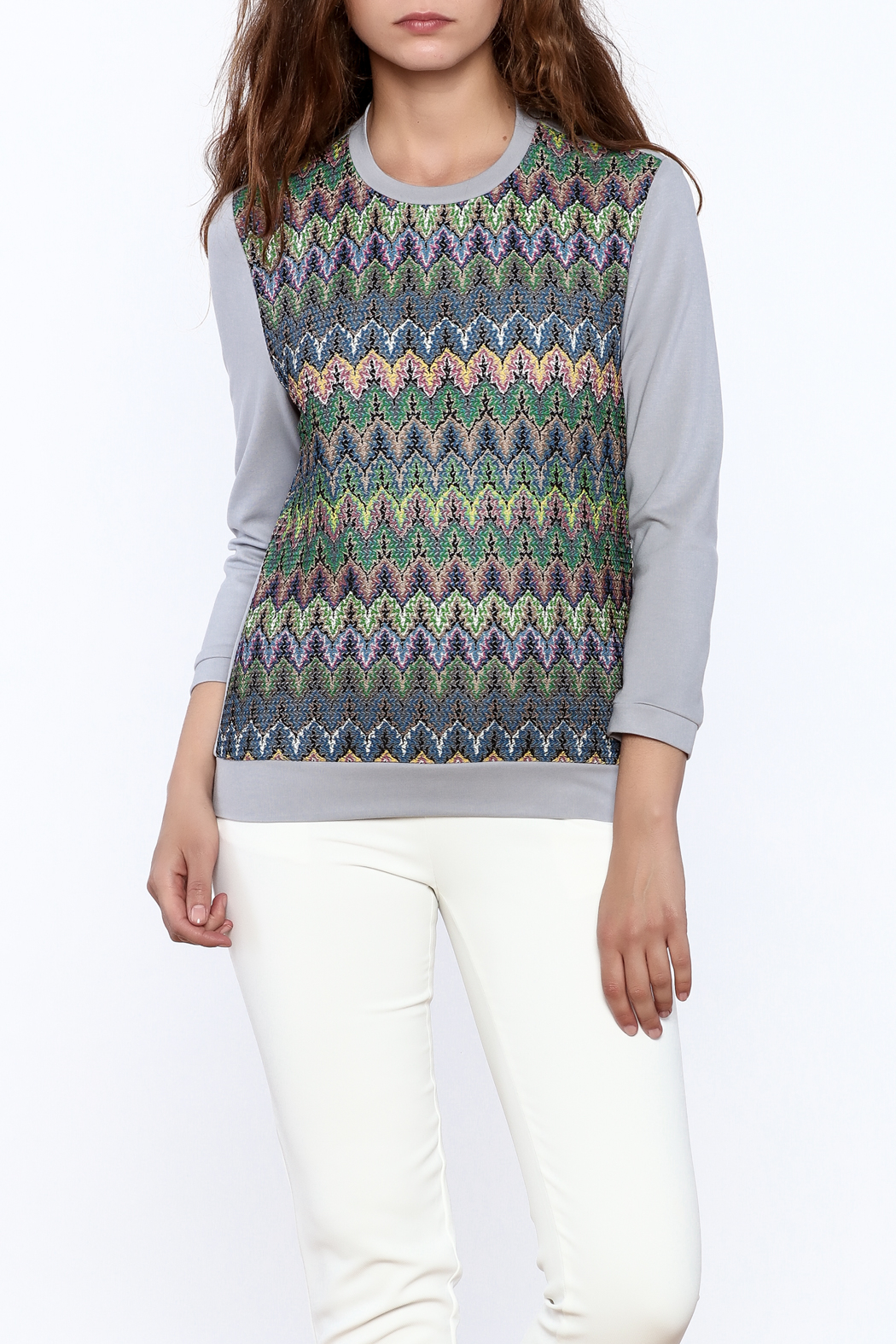 motek Grey Printed Top - Main Image