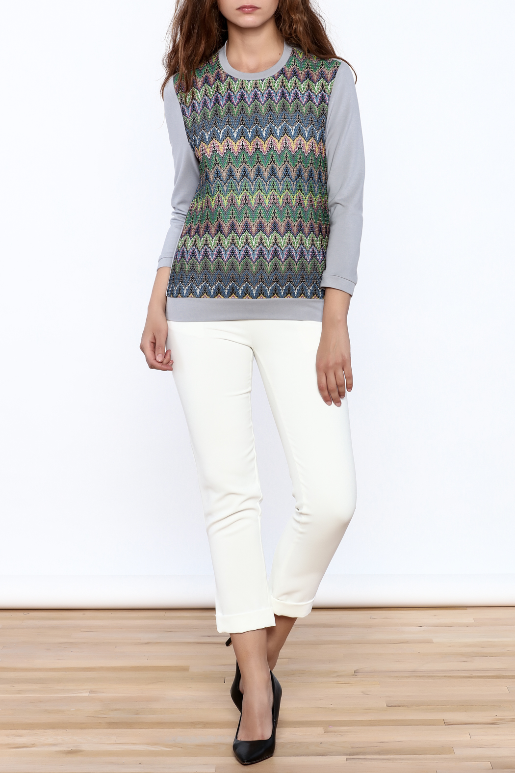 motek Grey Printed Top - Front Full Image
