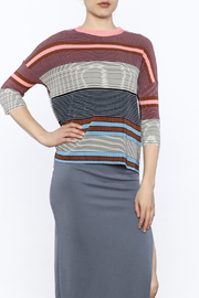 motek Stripe Print Loose Top - Product Mini Image