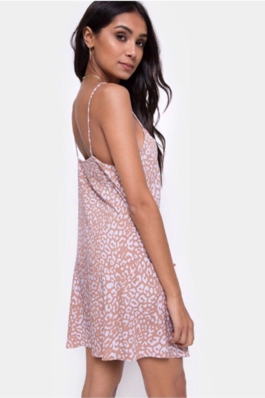 Motel Rocks Sanna Slip Dress Leopard Spot - PINK - Front Full Image