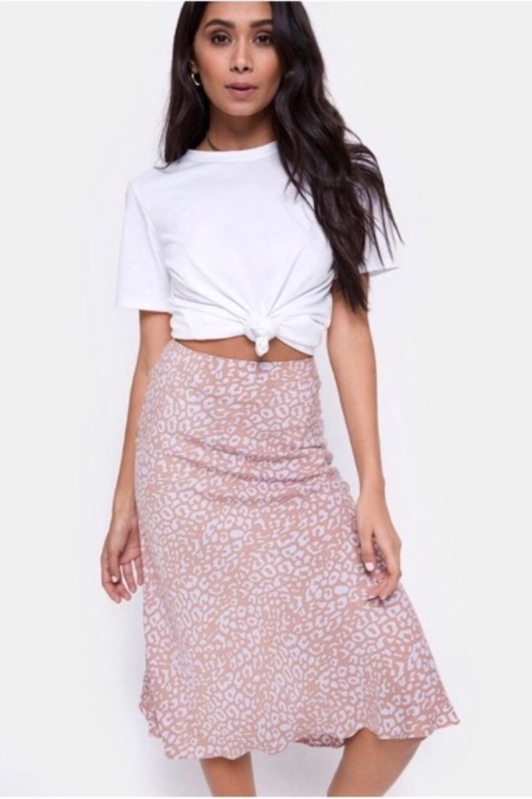 Motel Rocks Tauri Midi Skirt In Leopard Spot -PINK - Front Cropped Image